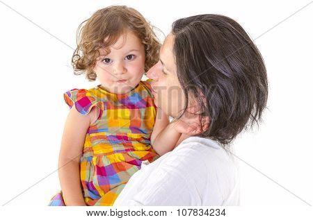 Mother Teaching Discipline Her Little Daughter