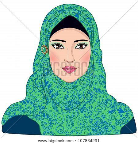 Muslim Girl Dressed In Blue-green Hijab.