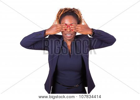 African American Business Woman Hiding Her Eyes With Her Hand