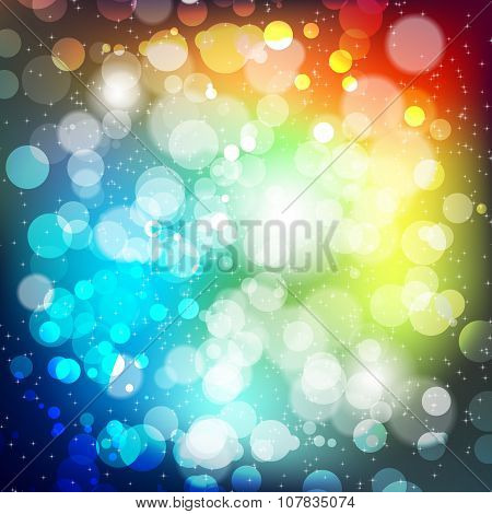 Abstract Background With Blur Lights And Shiny Stars