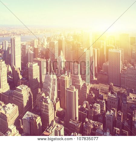 New York City at sunrise. Vintage style image.
