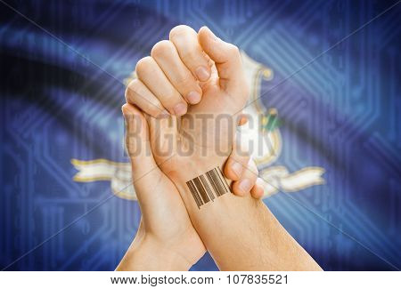 Barcode Id Number On Wrist And Usa States Flags On Background - Connecticut