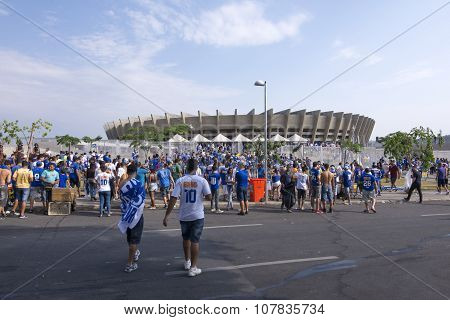 Soccer Fans Pouring Into Minerao Stadium