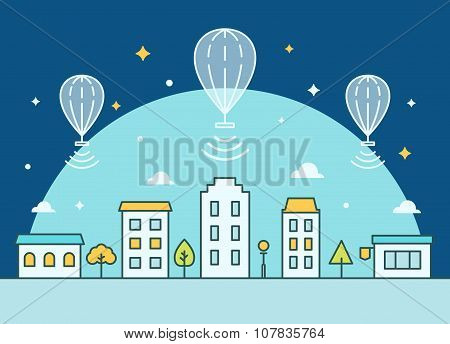 Internet Balloons Floating above the Town. Providing Internet Access Illustration
