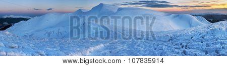 Sunset Mountain Winter Panorama.