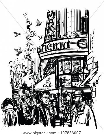 Paris - Cinema in Grands Boulevards - vector illustration