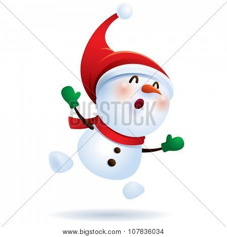 Snowman feeling excited