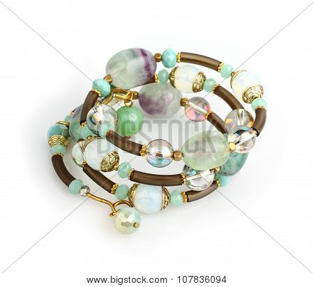 Jewelry Bracelet With Colorful Stones On White Background