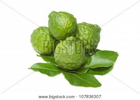 Bergamot And Kaffir Lime Leaves On White Background