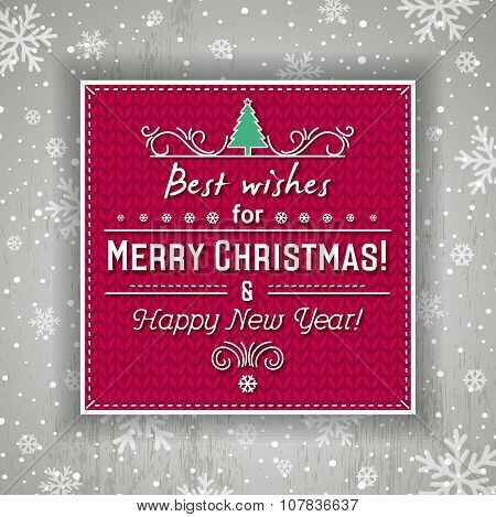 Red Christmas Background With Label And Greetings Text, Vector