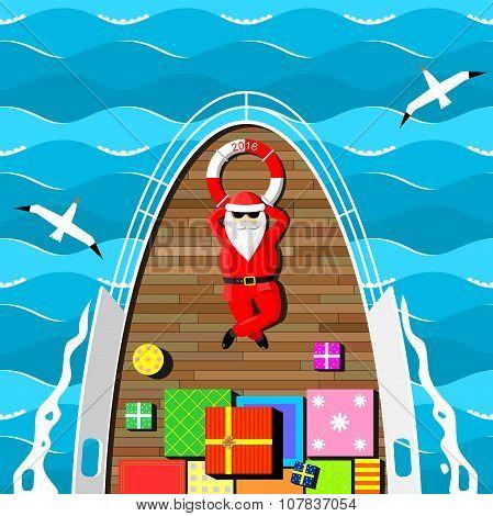 Santa Claus On A Yacht.