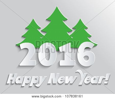 Happy New Year 2016 Banner with Tree