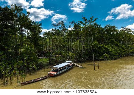 Canal over Marajo river in Belem do Para, Brazil