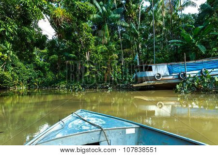 Boat over Marajo Canal in Belem do Para, Brazil