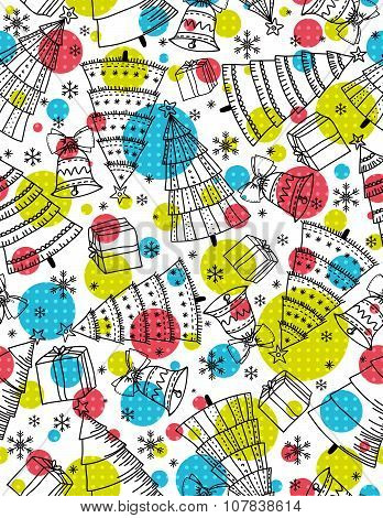Background With Christmas Trees, Presents And Bells, Vector