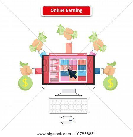 Icon Flat Style Concept Online Earning
