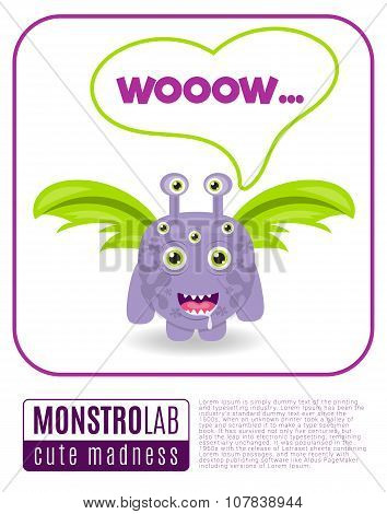 Illustration of a monster saying wow
