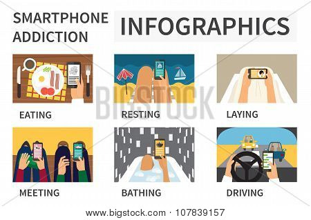 Smartphone addiction infographic.