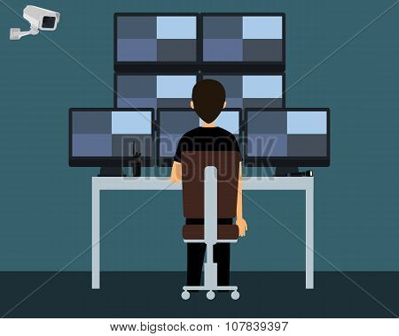 Workplace security guard. The security guard watching a video from surveillance cameras. Vector illu