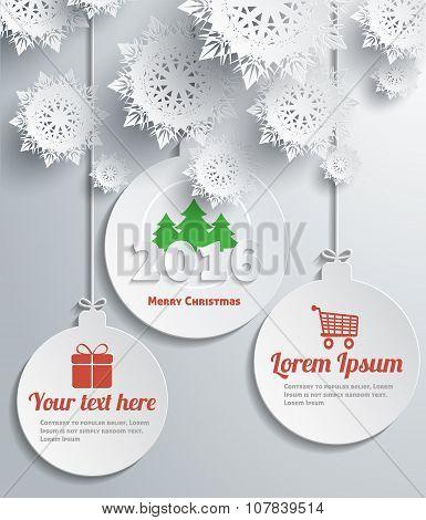 Snowflakes Balls Merry Christmas