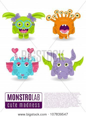 Vector Illustration Monsters With Toothy Grins.