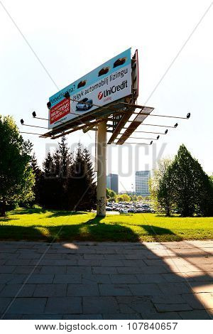 Advertising Stand In Vilnius City With Lighting