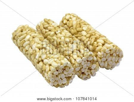 Puffed Rice In Honey On A White Background