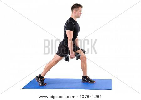 Young man shows starting position of Dumbbell Split-Squat workout, isolated on white