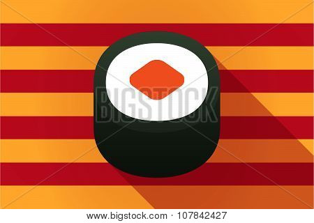 Long Shadow Catalonia Vector Flag With A Piece Of Sushi Maki