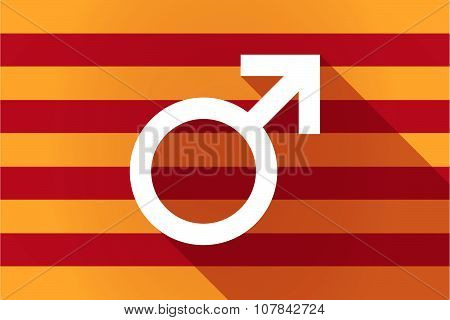 Long Shadow Catalonia Vector Flag With A Male Sign