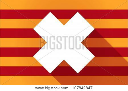 Long Shadow Catalonia Vector Flag With An Irritating Substance Sign