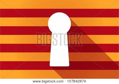 Long Shadow Catalonia Vector Flag With A Key Hole