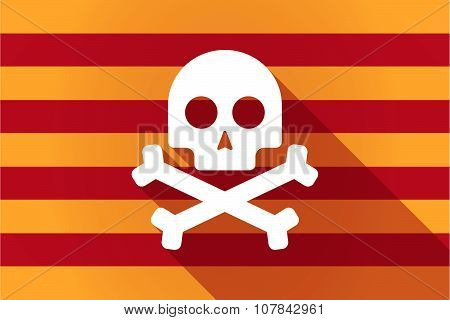 Long Shadow Catalonia Vector Flag With A Skull