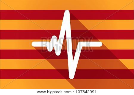 Long Shadow Catalonia Vector Flag With A Heart Beat Sign