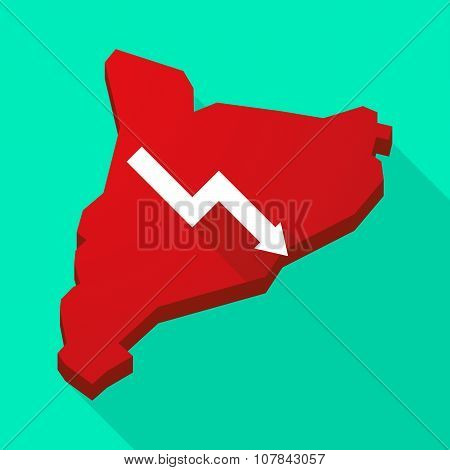 Catalonia Long Shadow Vector Icon Map With A Descending Graph