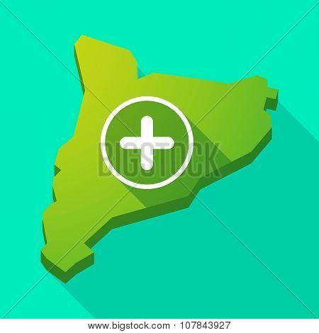Catalonia Long Shadow Vector Icon Map With A Sum Sign