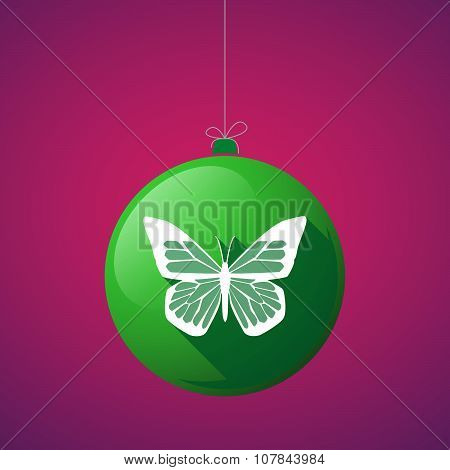 Long Shadow Vector Christmas Ball Icon With A Butterfly