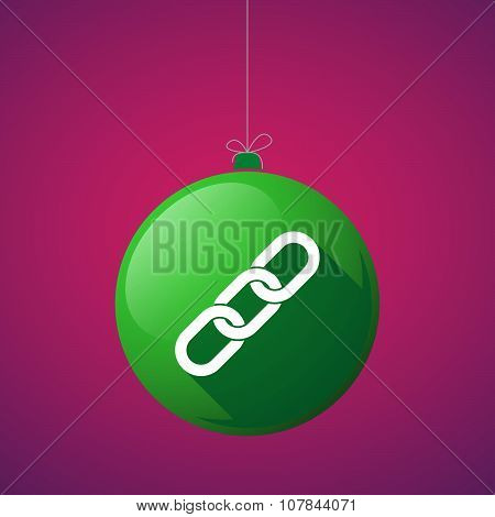 Long Shadow Vector Christmas Ball Icon With A Chain
