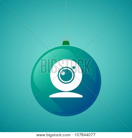 Long Shadow Vector Christmas Ball Icon With A Web Cam