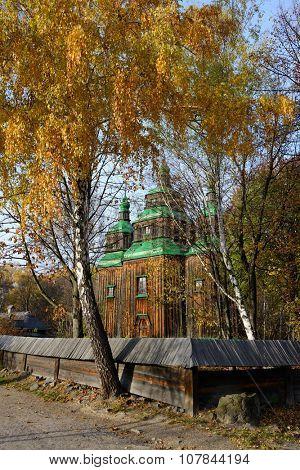Ukrainian autumn, traditional wooden architecture