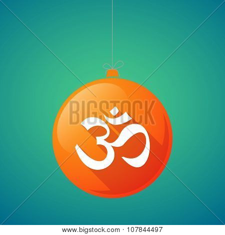 Long Shadow Vector Christmas Ball Icon With An Om Sign