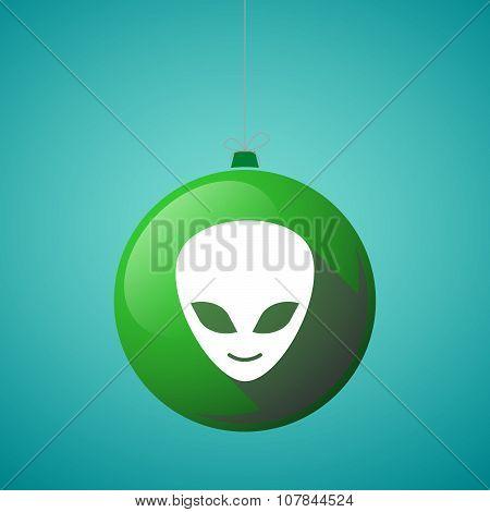 Long Shadow Vector Christmas Ball Icon With An Alien Face
