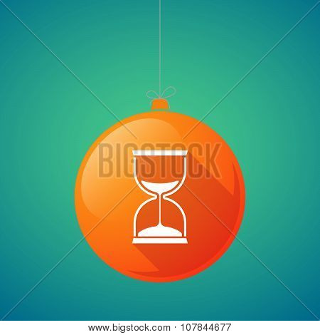 Long Shadow Vector Christmas Ball Icon With A Sand Clock
