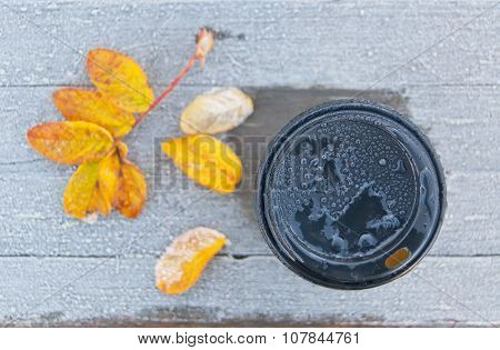 Take away coffee cup autumn background