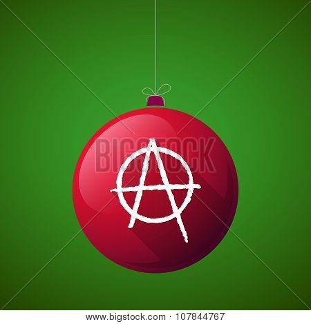 Long Shadow Vector Christmas Ball Icon With An Anarchy Sign