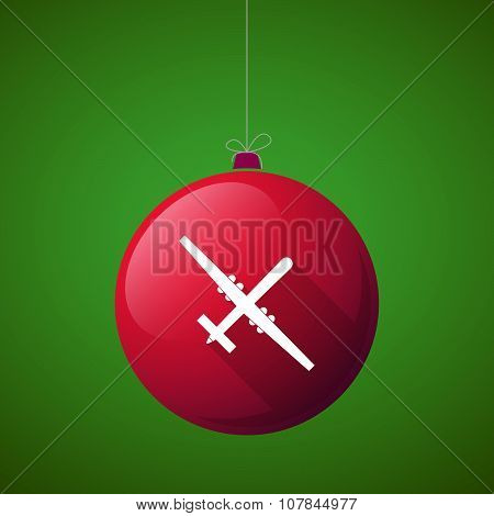 Long Shadow Vector Christmas Ball Icon With A War Drone
