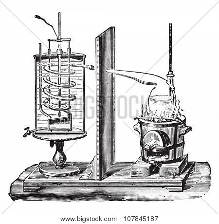 Despretz apparatus, vintage engraved illustration. Industrial encyclopedia E.-O. Lami - 1875.
