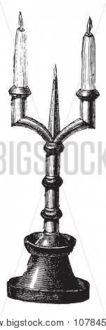 Candlestick, vintage engraved illustration. Industrial encyclopedia E.-O. Lami - 1875.