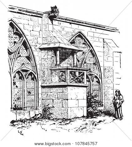 Chair of the cloister of the Cathedral of Saint-Die, engraving from the architectural dictionary Viollet-le-Duc, vintage engraved illustration. Industrial encyclopedia E.-O. Lami - 1875.