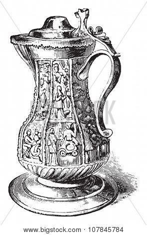 Pitcher from Shakespeare, vintage engraved illustration. Industrial encyclopedia E.-O. Lami - 1875.